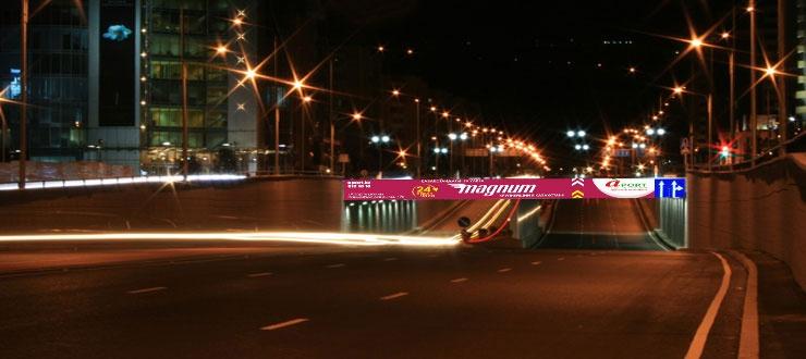 Реклама на дорожных развязках в Алматы